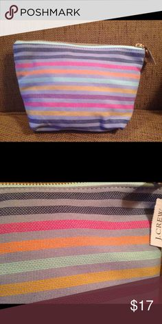 "J. Crew Makeup Bag (new w/ tag) J. Crew Makeup Bag (new w/ tag)  Height: 6.5"" Depth: 3.5"" Length: 8.5"" J. Crew Bags Cosmetic Bags & Cases"
