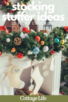 Here are 25 stocking stuffer ideas for Christmas, all under $30. Cheap stocking stuffers that your kids will love. #stockingstuffers #stockingideas #mantel #christmasdecor #giftideas #giftguide #christmas #CottageLife Cottage Christmas, Cozy Christmas, Christmas Wreaths, Christmas Decorations, Christmas Ornaments, Cheap Stocking Stuffers, Stocking Holders, Holiday Ideas, Holiday Decor