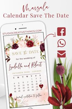 If you are Looking for a save the date ideas for your fall wedding check out this marsala calendar save the date with blush