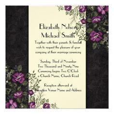 Elegant Purple Garden Floral Ivory Damask Wedding Invitations