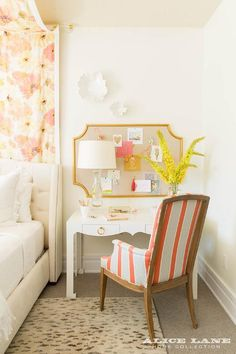 Pink and yellow contemporary girl's bedroom features an orange and gray striped chair placed on a gray animal print rug in front of a Bungalow 5 Jacqui Desk accented with brass ring pulls lit by a Balustrade Table Lamp and positioned in front of a PB Teen Girl Bedroom Walls, Bedroom Wall Colors, Bedroom Decor, Kids Bedroom, Bedroom Ideas, Girl Rooms, Bedroom Images, Coastal Bedrooms, Coastal Living Rooms
