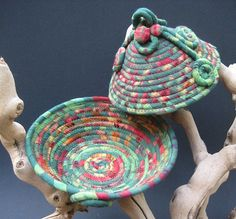 Coiled Fabric Basket  Winter Holiday by lickcreekcollections,