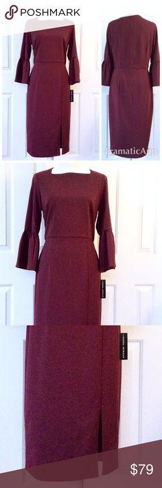 ❤️NEWStunning Burgundy Statement Sleeve MidiDress New Donna Morgan Dresses Midi