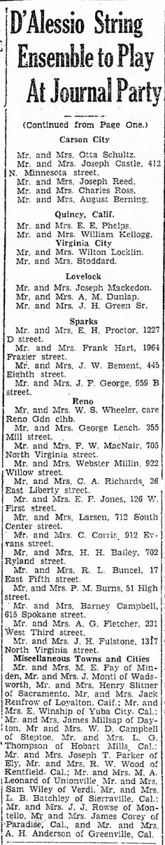 Nevada State Journal, 3 Jun 1932, Fri, Page 2   Mary & Robert Buncel attend D'Alessio Strings at Journal Party