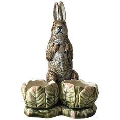 Majolica Condiment Stand Rabbit Set, circa 1900 | From a unique collection of antique and modern serving pieces at https://www.1stdibs.com/furniture/dining-entertaining/serving-pieces/