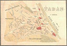Ilyen is volt Budapest - Tabán térkép S Stories, Budapest Hungary, Tabata, Tao, Old Photos, Vintage World Maps, History, Sweet, Beautiful