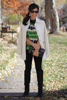 Coat as a cape #madeinUSA outfit for Fall - black leggings and tall boots
