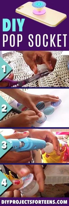 DIY Pop Socket Tutorial and Video - Cool Crafts and DIY Projects for Teens - Easy Craft Ideas for Teenagers - Cheap Phone Accessories, Hacks and Gadgets - Fun Ideas for Teens and Kids To Make This Summer - Step by Step Tutorial and Instructions