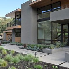 Modern Landscape Design, Modern Landscaping, Contemporary Landscape, Front Yard Landscaping, Landscape Architecture, Landscaping Ideas, Minimalist Architecture, Contemporary Homes, Residential Architecture