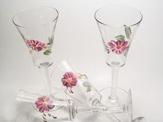 Hand Painted Recycled Set Of Four Purple Flower Wine Glasses