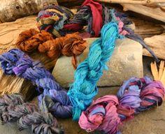 Itsy Bitsy: 18 feet of Recycled Sari Ribbon by Darn Good Yarn | The Best Yarn Store!