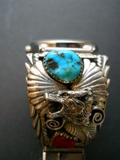 Annie Chapo signed Turquoise Coral Wolf Head Watch Band. $129.00, via Etsy.