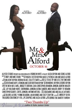 "Movie Poster with Bride and Groom as ""Mr. and Mrs. Smith"".  Note, the bride has an Amex Black card instead of a gun.  The groom, who is an elite chef, has a spatula."