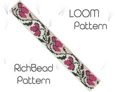 Loom Bracelet Patterns, Bead Loom Bracelets, Bead Loom Patterns, Jewelry Patterns, Knitting Patterns, Crochet Patterns, Weaving Patterns, Embroidery Patterns, Bead Loom Designs
