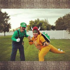23 Super Mario and Luigi Costumes - Luigi and Bowser striking a pose.