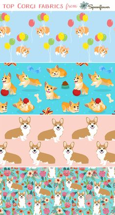 Attention corgi lovers: we found the best corgi designs available for printing on fabric, wallpaper and gift wrap!