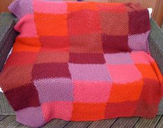 Patchwork Knit Blanket Kit: Reds