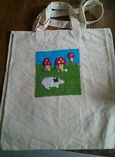 Handmade shopping canvas tote bag mushroom hedgehog toadstool butterfly Large