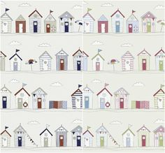 Fryetts Beach Huts Seaside 100% Cotton Curtains Crafting Fabric - Pink or Blue in Crafts, Sewing & Fabric, Fabric | eBay