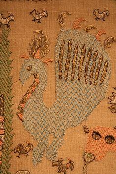 Greek Embroidered Panel of a bird Greek Design, Textile Texture, Cross Stitch Bird, Textiles, Gold Work, Armenia, Embroidery Art, Pj, Fiber Art