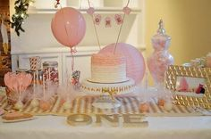 Pink and gold first birthday.