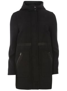 Black Bonded Duffle Coat DP