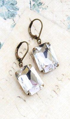 Rhinestone Earrings Glass Drop Earrings Vintage