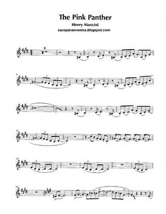 Free sheet music for sax: Pink Panther - Henry Mancini score and track (Sheet music free) Alto Sax Sheet Music, Saxophone Music, Violin Sheet Music, Tenor Sax, Partition Saxophone Alto, Partitions Saxophone, Henry Mancini, Sheet Music Crafts, Free Sheet Music