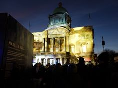 Famous faces of #Hull are projected on Hull City Hall by spectacular light installations. Here you can see #AmyJohnson! #MadeInHull