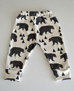 organic cotton leggings in geometric bear baby by ourlittlelullaby