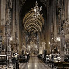 The nave of the St. Stephen's Cathedral, which is divided into a main nave and two side aisles, discloses it as a parish church built according to the strict rules of Gothic architecture.   Next to the North Tower elevator are the stairs leading down into the catacombs. The catacombs house the Bishops' Crypt, as well as the urns in which, from 1564 to 1878, the viscera of the members of the House of Habsburg were entombed.