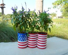 American Flag Planters made from aluminum cans - learn the easy secret on our blog!