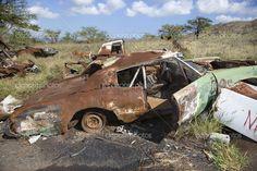 Rusty car in junkyard. Decay Art, Junkyard Cars, Abandoned Cars, Abandoned Vehicles, Rust In Peace, Rusty Cars, Old Classic Cars, Yard Art, Car Ins