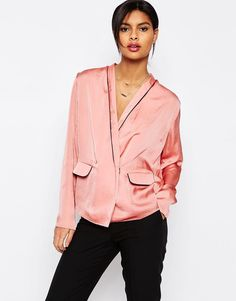 Image 1 of ASOS Satin Wrap Front Pyjama Blouse