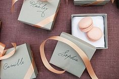 Peach And Grey Wedding Favours - Peach macarons in grey gift box