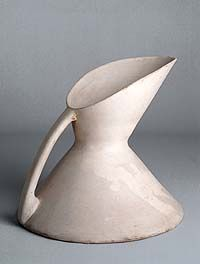Pitcher. Designed by Christopher Dresser, c. 1880. Manufactured by Linthorpe Art Pottery, Yorkshire, England.