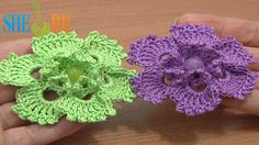 Picot Popcorn Stitch Flower Crochet Tutorial 70 Flower Patterns  http://sheruknitting.com/videos-about-knitting/crochet-flower-lessons/item/514-crochet-flower-with-pico Flower crochet pattern. This 3-D flower works up quickly, and can be used for a variety of projects. In the center we made 6 popcorn stitches with picots. And petals are worked in the same style - with picots. This flower can be applied to the bags, hair bends, hats... and used to embellish any of your hand made pieces. Enjoy!