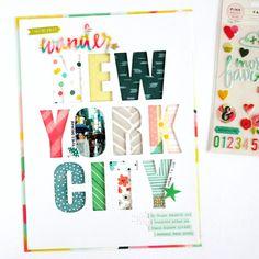 New York City Scrapbooking layout Scrapbook Titles, Travel Scrapbook, Scrapbooking Layouts, Scrapbook Kit, Paper Bag Album, New York, Paper Crafts, Diy Crafts, Studio Calico