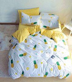 Hawaiian pineapple tropical fruit bedroom ideas. Pineapple comforter set for girls.