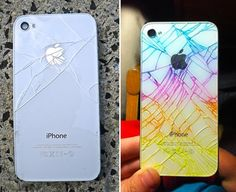"Beautify your broken iPhone glass with highlighters.""Just draw all over the back with a highlighter and rub the excess ink off with a paper towel. The ink will stay in the cracks, but rub off the rest of the back. [To avoid] dangerous glass shards or ink rubbing off, cover with one piece of clear packing tape or something similar, like clear nail polish"" -skrillexisokay"