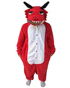 Introducing WOTOGOLD Animal Cosplay Costume Dragon Men Women Pajamas Red L. Get Your Ladies Products Here and follow us for more updates!