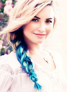 Dip dyed/ombre hair blue styled