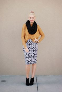 Mustard is my favorite fall color! Showing how to wear your pencil skirts in the fall/winter.  On the www.redclosetdiary.com