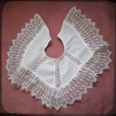 Antique Kid French Lace Victorian white Large Collar costume accessory with lace borders - Vintage Fine Handmade Fashion