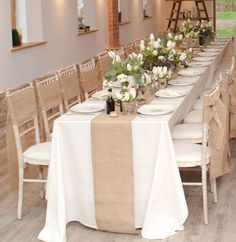 hessian burlap table runner 2m by the wedding of my dreams | notonthehighstreet.com