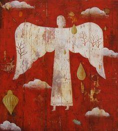 Carnet Imaginaire Nicholas Wilton- Tree Angel (Oil and mixex media on panel) Angel Artwork, I Believe In Angels, Angels Among Us, Guardian Angels, Outsider Art, Religious Art, Cherub, Ikon, Oeuvre D'art