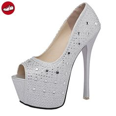 YE Damen Glitzer Peep Toe Stiletto Extreme High Heel Plateau Pumps mit Strass und 16cm Absatz Elegant Schuhe (*Partner-Link)