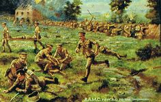 A 1914 postcard of the Royal Medical Corps in battle. Made by Raphael Tuck and Sons of London.