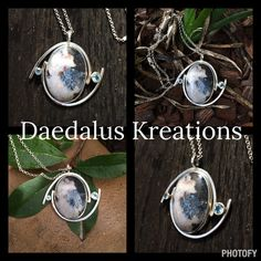Sterling silver pendant, showcasing a large  Crazy Lace Agate gemstone, wrapped in polished Sterling silver finish, and complimented in 14k gold bezels with Blue Topaz semi precious gemstones, fabricated Sterling Silver rolo chain.  Designed and handmade by the artisan  Dana DiFrancesco of Daedalus Kreations.  Created at Whaley Studios.