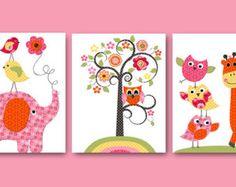 Vintage Owl Decor Giraffe Nursery Baby Girl Nursery Art Nursery Wall Art Kids Room Decor Kid Art set of Elephant Nursery Tree Owl Rose Orange